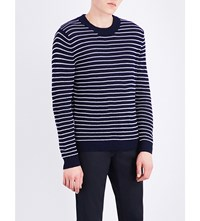 Sandro Striped Knitted Cotton Jumper Navy Blue