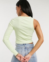 Na Kd One Sleeved Ribbed Jersey Top In Lime Green