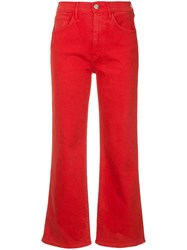 3X1 Shelter Wide Leg Cropped Jeans Red