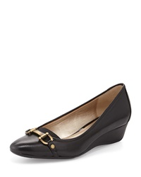 Circa Joan And David Yelkira Leather Patent Bit Wedge Black