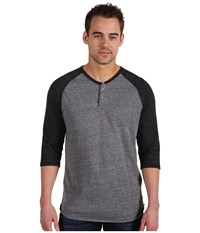 Alternative Apparel 3 4 Raglan Henley Eco Grey Eco Black Men's Long Sleeve Pullover Gray