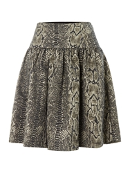 Alice By Temperley Venice Snake Print A Line Skirt Gold Metallic