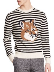 Maison Kitsun Striped Fox Lambswool Sweater White Black