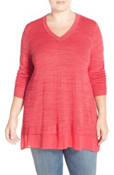 Plus Size Women's Sejour 'Sicily' Chiffon Hem Slub Knit V Neck Sweater Coral Rose