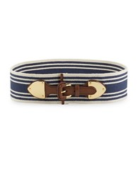 Lauren Ralph Lauren Striped Stretch Belt Navy