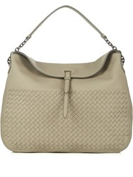 Bottega Veneta Hobo Intrecciato Leather Tote Grey