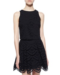 Alice Olivia Sleeveless Eyelet Crop Top