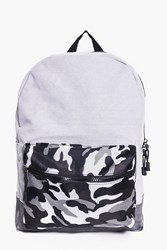 Boohoo And Pu Mixed Camo Back Pack Grey