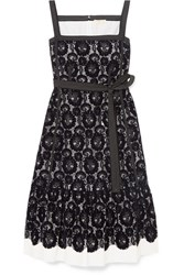 Tory Burch Kristen Flocked Lace And Cotton Dress Midnight Blue