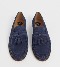 Hudson H By Wide Fit Alloa Woven Loafers In Navy Suede