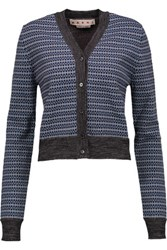 Marni Cropped Jacquard Knit Wool Blend Cardigan Blue