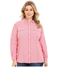 Columbia Plus Size Super Bonehead Ii L S Shirt Bright Geranium Gingham Women's Long Sleeve Button Up Pink