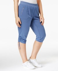 Calvin Klein Performance Plus Size Shirred Cropped Pants Bijou Blue