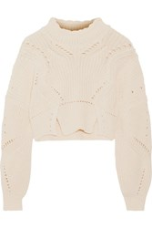 Isabel Marant Gane Cropped Pointelle Trimmed Cotton And Wool Blend Sweater Ecru