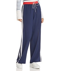 Joie Perlyn Silk Track Pants Dark Navy With Cherry