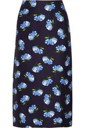 Mother Of Pearl Baylis Floral Print Cotton Blend Twill Midi Skirt