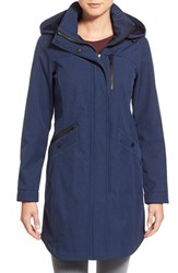 Kristen Blake Women's Crossdye Hooded Soft Shell Jacket Regular And Petite Navy