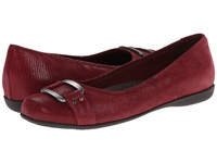 Trotters Sizzle Dark Red Patent Suede Lizard Leather Women's Dress Flat Shoes