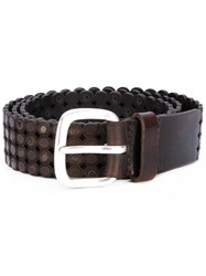 Orciani Textured Belt Men Leather 105 Brown