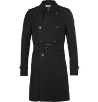 Burberry Slim Fit Cotton Gabardine Trench Coat Black