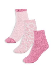 Ellen Tracy Fuzzy Socks Set Of 3 Pink Combo