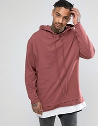 Asos Oversized Hoodie With Raw Edges And T Shirt Hem Rosewood Red