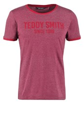 Teddy Smith Tristan Print Tshirt Dark Wine Bordeaux