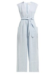 Mara Hoffman Whitney Striped Wide Leg Hemp Jumpsuit Blue White