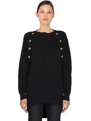 Givenchy Long Wool Blend Knit Sweater W Buttons Dark Blue
