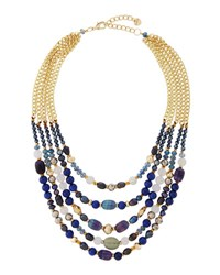 Nakamol Multi Strand Agate Beaded Collar Necklace Blue Gray Mix