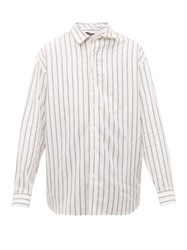 Y Project Twisted Placket Striped Twill Shirt White Black