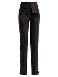 Valentino High Rise Wool Blend Trousers Black