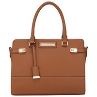 Miss Selfridge Twist Lock Tote Bag Tan