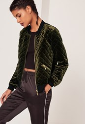 Missguided Quilted Bomber Jacket Green