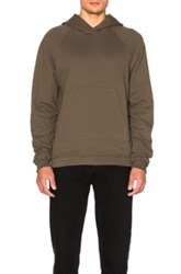 John Elliott Unfinished Edge Raglan Hoodie In Green