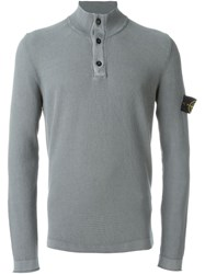 Stone Island Button Collar Sweater Grey