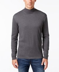 John Ashford Long Sleeve Mock Neck Solid Interlock Shirt Charcoal Heather