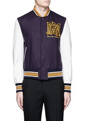 Alexander Mcqueen Logo Patch Leather Sleeve Varsity Jacket Multi Colour