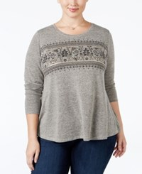Styleandco. Style Co. Plus Size Embellished Melange Swing Top Only At Macy's Holiday Teabiscuit