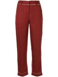 Peter Pilotto Straight Leg Cord Detail Trousers Red