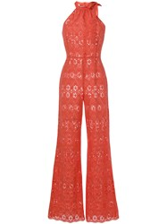 Daizy Shely Broderie Anglaise Jumpsuit Yellow And Orange
