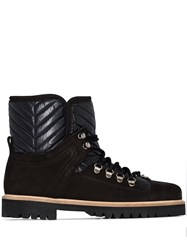Ganni Quilted Panel Hiking Boots Black