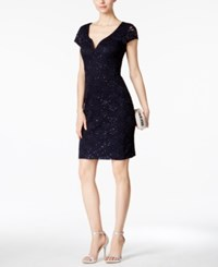 Connected Sequined Lace Sweetheart Sheath Dress Navy