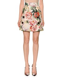 Dolce And Gabbana Poppy Brocade Jewel Embellished Knee Length Skirt Multi Pattern