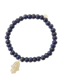 Sydney Evan 6Mm Faceted Sapphire Beaded Bracelet With 14K Yellow Gold Diamond Medium Hamsa Charm Made To Order