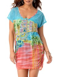 Anne Cole Ocean Beach Scene Mesh Tunic Multi Colored