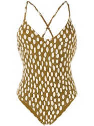 Mara Hoffman Dotted Swimsuit Brown