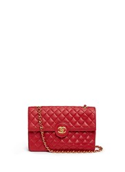Wgaca Vintage Chanel Quilted Leather Cc Lock Flap Bag Red