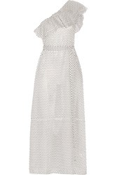 Lisa Marie Fernandez Arden One Shoulder Polka Dot Cotton Voile Maxi Dress White