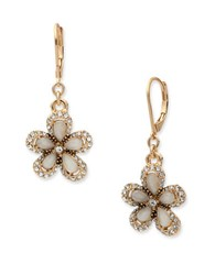 Anne Klein Mother Of Pearl Flower Drop Earrings Rose Gold